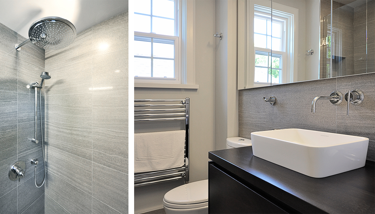 Image 1: Detail of rain shower fixture. Image 2: Bathroom white vessel sink on a dark cabinet with modern fixtures. Heated towel rack installed on the wall under the window.
