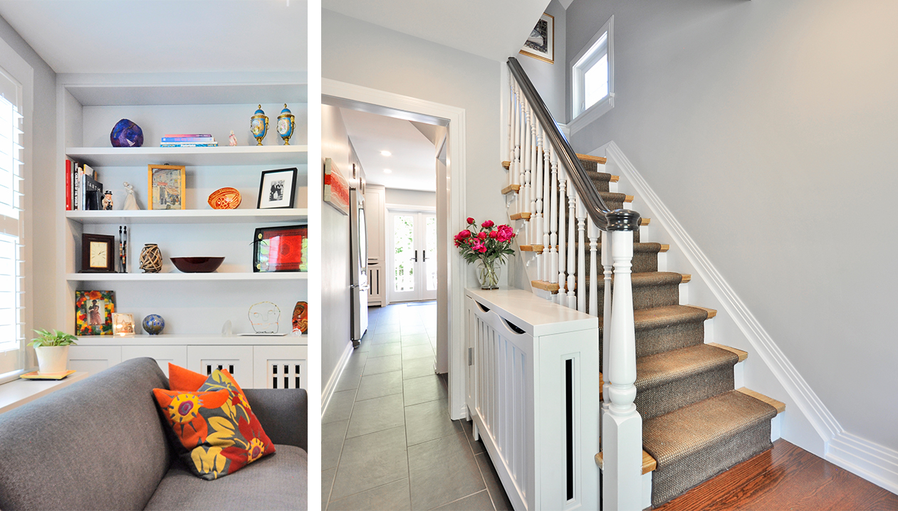 Image 1: Grey couch and built in white wall shelves. Image 2: Foyer: stairs leading to 2nd floor and long view of hallway into the kitchen. Grey floor tiles.